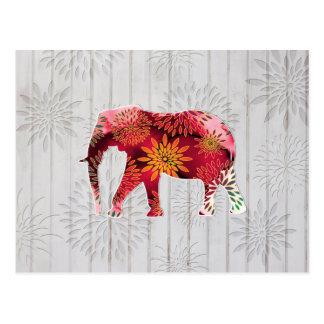 Elefante caprichoso lindo en el diseño de madera tarjetas postales
