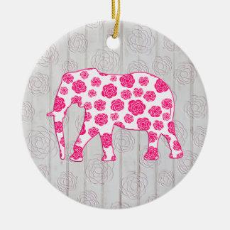 Elefante caprichoso lindo en el diseño de madera y adorno redondo de cerámica
