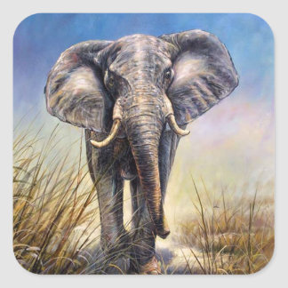 Elefante coloreado que corre a través del llano pegatina cuadrada