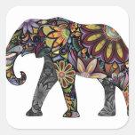 Elefante colorido calcomanías cuadradases