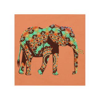 Elefante colorido del modelo cuadro de madera