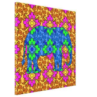 Elefante colorido impresión en lona estirada