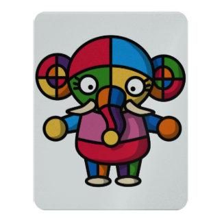 """elefante colorido invitación 4.25"""" x 5.5"""""""