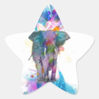 elefante colorido lindo de las salpicaduras de los pegatina en forma de estrella