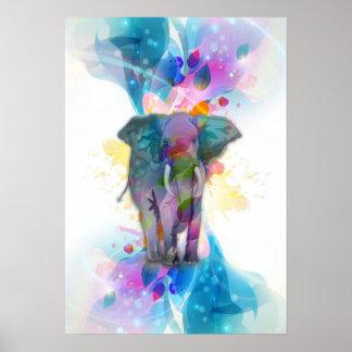 elefante colorido lindo de las salpicaduras de los póster