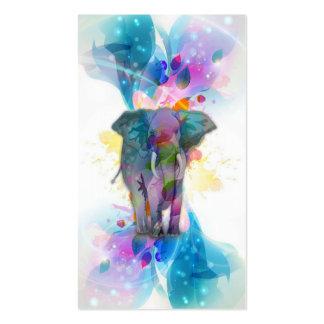 elefante colorido lindo de las salpicaduras de los tarjetas de visita