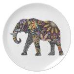 Elefante colorido plato de cena