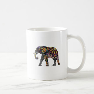 Elefante colorido taza básica blanca