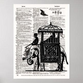 Elefante con arte del diccionario del castillo poster