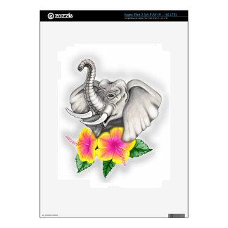 Elefante con diseño del hibisco iPad 3 skins
