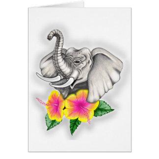 Elefante con diseño del hibisco tarjeta