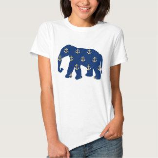 Elefante con el modelo de oro de las anclas remera
