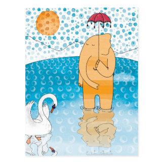 Elefante con el paraguas tarjeta postal