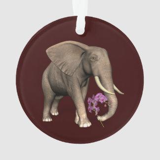 Elefante con la orquídea rosada