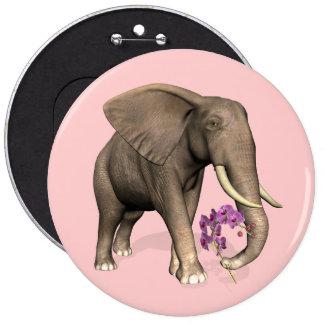 Elefante con la orquídea rosada pin redondo de 6 pulgadas