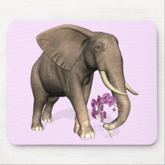 Elefante con la orquídea rosada tapete de ratones