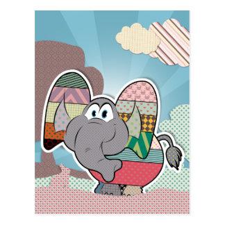 Elefante con las nubes pintadas texturas postal