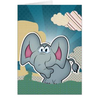 Elefante con las nubes pintadas texturas tarjeta de felicitación