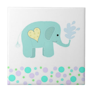 Elefante con los puntos azulejo cuadrado pequeño