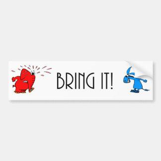 Elefante contra burro… ¡Tráigalo! Pegatina Para Auto