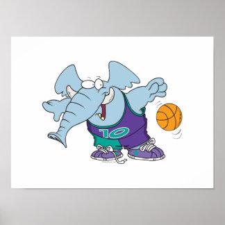elefante de goteo deportivo lindo del baloncesto póster