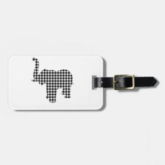 Elefante de Houndstooth Etiquetas Bolsas
