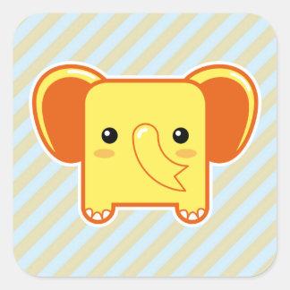 Elefante de Kawaii Calcomanía Cuadradase