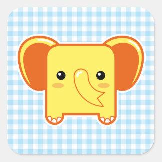 Elefante de Kawaii Pegatinas Cuadradas Personalizadas