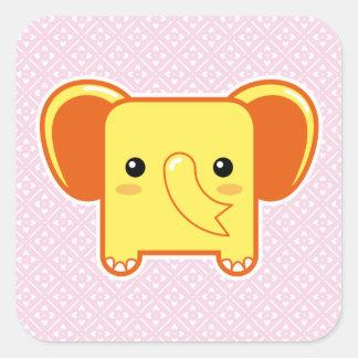 Elefante de Kawaii Pegatina Cuadradas Personalizadas