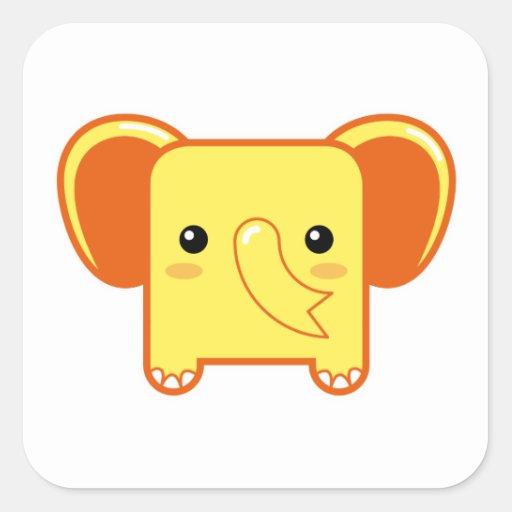 Elefante de Kawaii Calcomanías Cuadradass Personalizadas