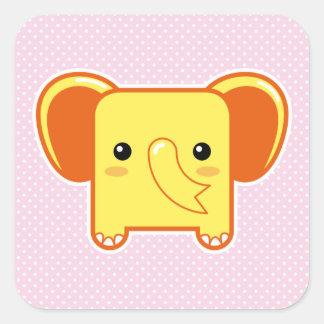 Elefante de Kawaii Calcomanías Cuadradas Personalizadas