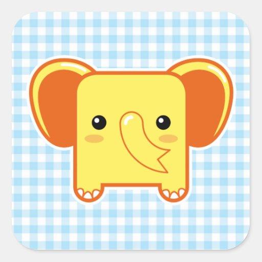 Elefante de Kawaii Pegatinas Cuadradas