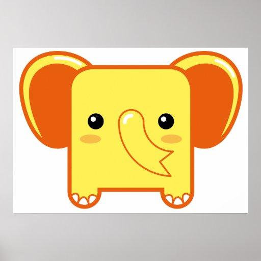 Elefante de Kawaii Póster