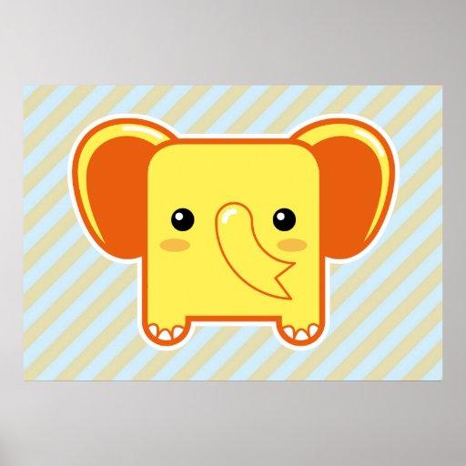 Elefante de Kawaii Posters