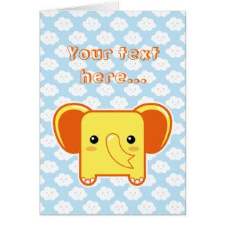 Elefante de Kawaii Tarjeta De Felicitación