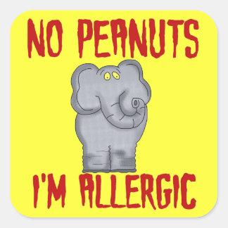 Elefante de la alergia del cacahuete pegatina cuadrada