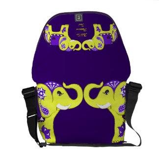 Elefante de la alheña (amarillo/púrpura) bolsa de mensajeria