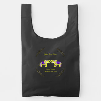 Elefante de la alheña (amarillo/púrpura) bolsa reutilizable