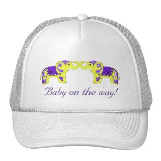 Elefante de la alheña (amarillo/púrpura) (fiesta d gorro