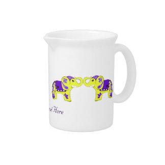 Elefante de la alheña (amarillo/púrpura) jarras