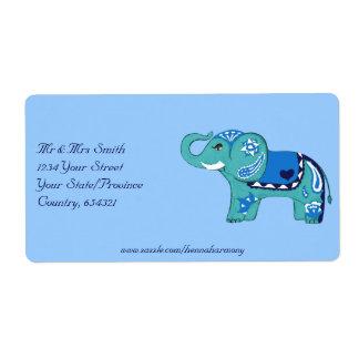 Elefante de la alheña (azul/azul claro) etiqueta de envío