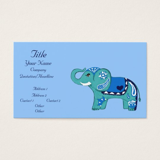 Elefante de la alheña (azul/azul claro) (fiesta de tarjetas de visita
