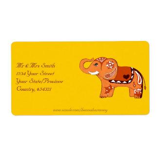Elefante de la alheña (naranja/rojo) etiquetas de envío