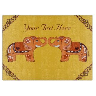 Elefante de la alheña (naranja/rojo) tabla para cortar