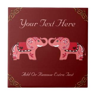Elefante de la alheña (rojo/rosa) azulejo cuadrado pequeño