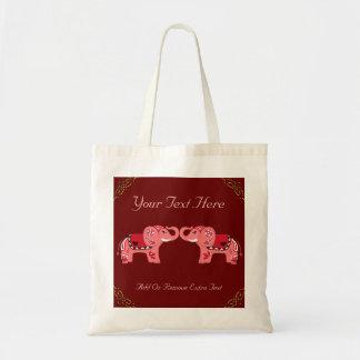 Elefante de la alheña (rojo/rosa) bolsa tela barata