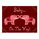Elefante de la alheña (rojo/rosa) (fiesta de bienv tarjeta postal