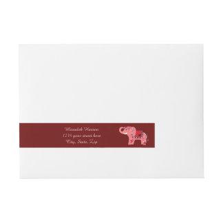Elefante de la alheña (rojo/rosa) pegatinas postales