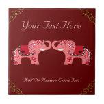 Elefante de la alheña (rojo/rosa) tejas  ceramicas