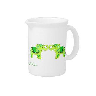Elefante de la alheña (verde/verde lima) jarra de beber
